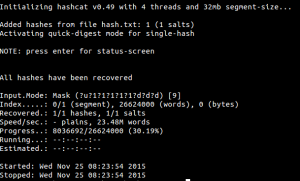 Result of hash cracking